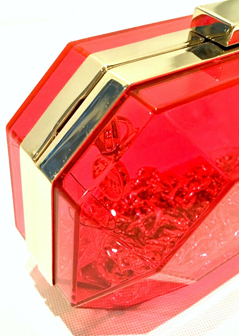 21st Century Lucite & Gold Minaudiere Clutch Hand Bag By, Juicy Couture For Sale 5