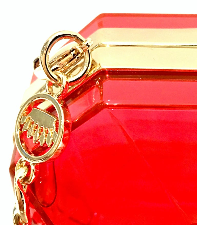 21st Century Lucite & Gold Minaudiere Clutch Hand Bag By, Juicy Couture For Sale 7