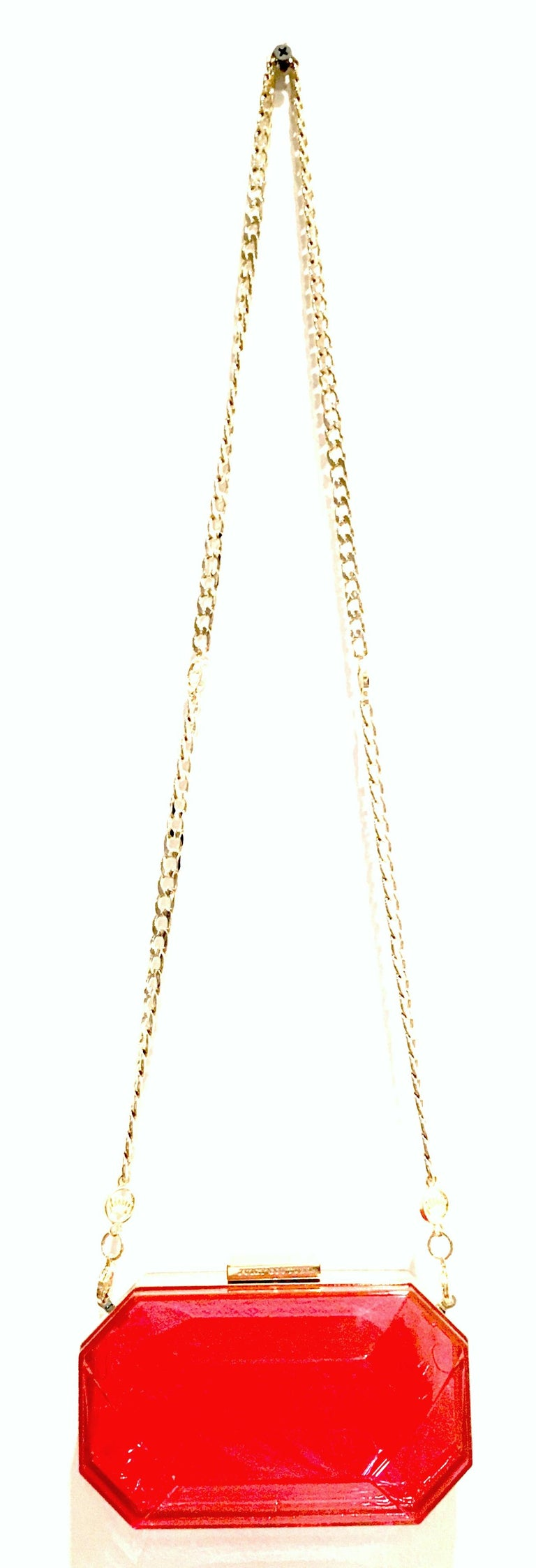 Red 21st Century Lucite & Gold Minaudiere Clutch Hand Bag By, Juicy Couture For Sale