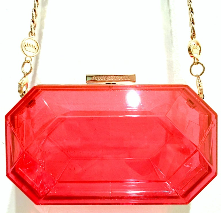 21st Century Lucite & Gold Minaudiere Clutch Hand Bag By, Juicy Couture In Good Condition For Sale In West Palm Beach, FL