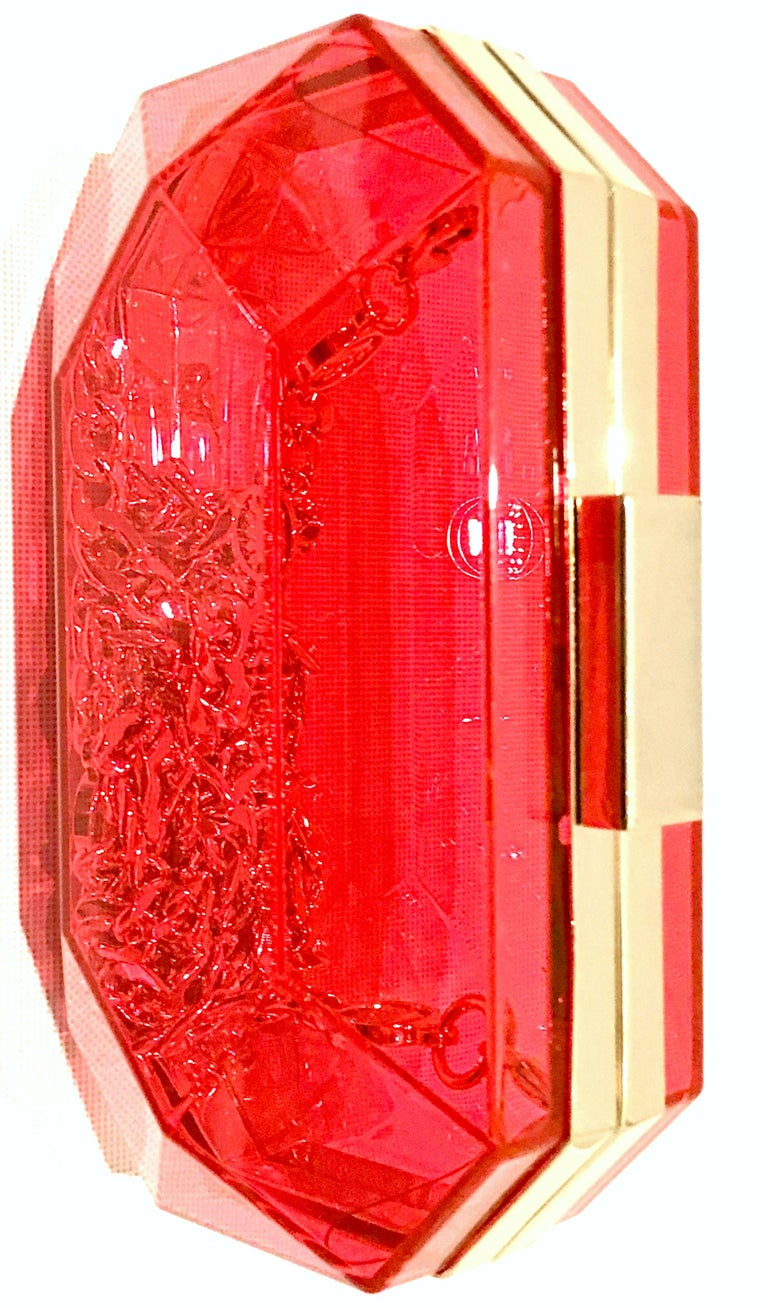 Women's or Men's 21st Century Lucite & Gold Minaudiere Clutch Hand Bag By, Juicy Couture For Sale