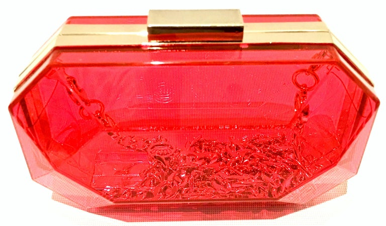 21st Century Lucite & Gold Minaudiere Clutch Hand Bag By, Juicy Couture For Sale 2