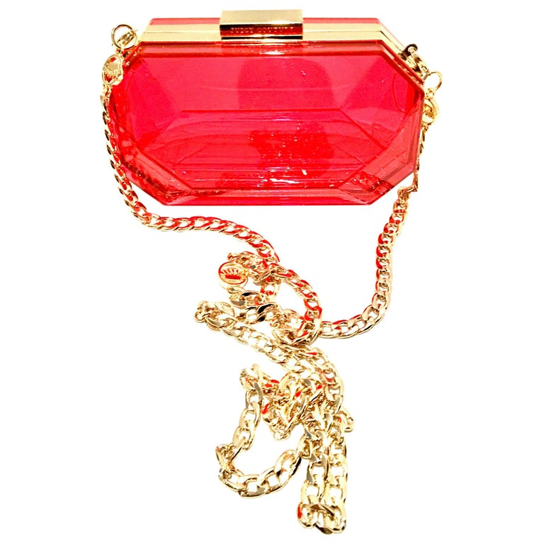 21st Century Lucite & Gold Minaudiere Clutch Hand Bag By, Juicy Couture For Sale
