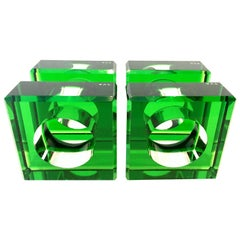 Lucite Square and Round Napkin Ring by, Alexandra Von Furstenberg Set of 4