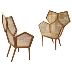 21st Century LUI 5/A Caned Armchair in Wood Gold Leaf Finish