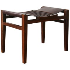 21st Century Luzio Slung Leather Stool in Argentine Rosewood with Cording