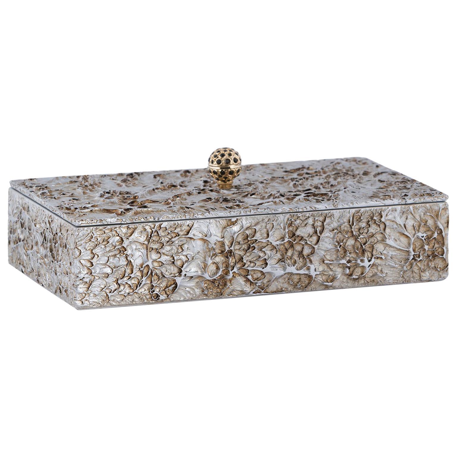 21st Century Madagascar M Wooden Decorative Box Handmade Texturized Effect