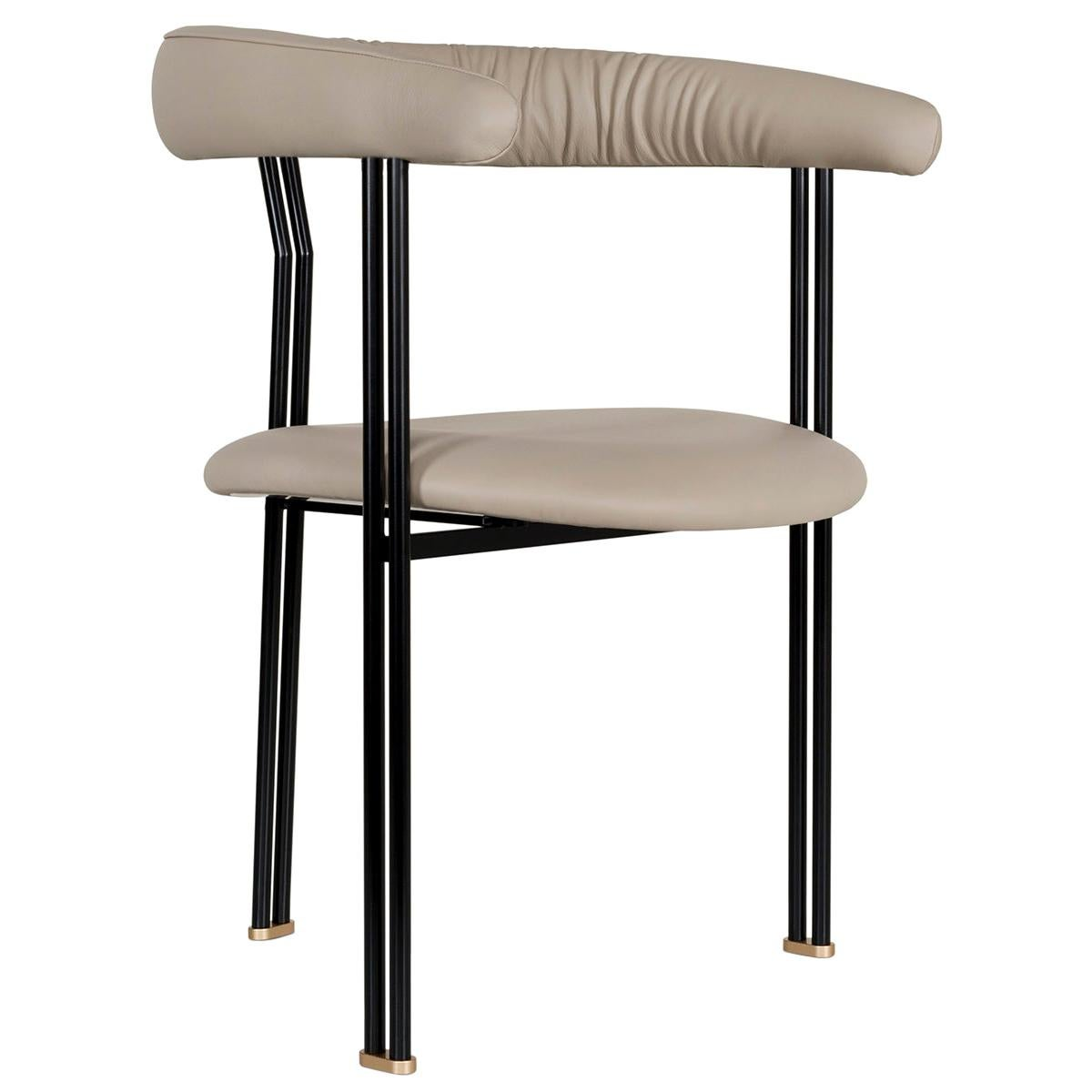 Maia Chair with Armrests Black Lacquered Metal Premium Italian Beige Leather