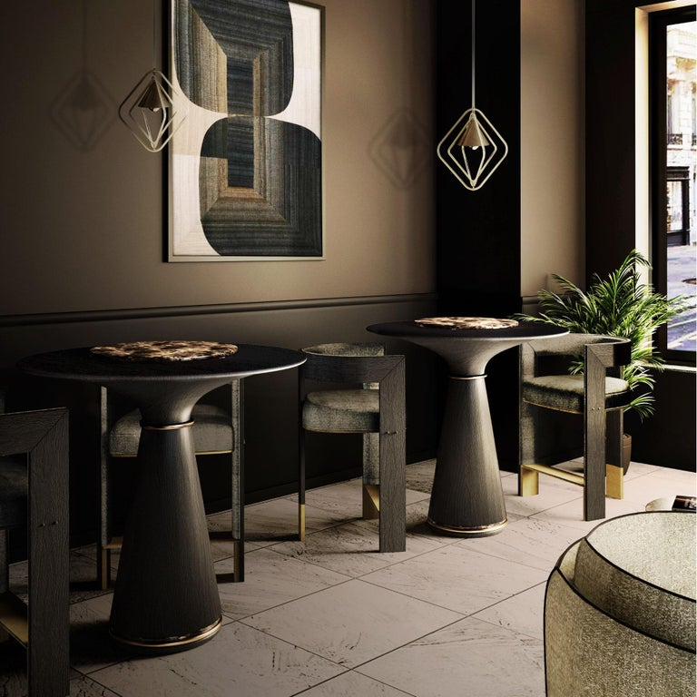 Portuguese 21st Century Manhattan Bar Table Black Stained Ashwood Brass Grey Kenzo Marble For Sale