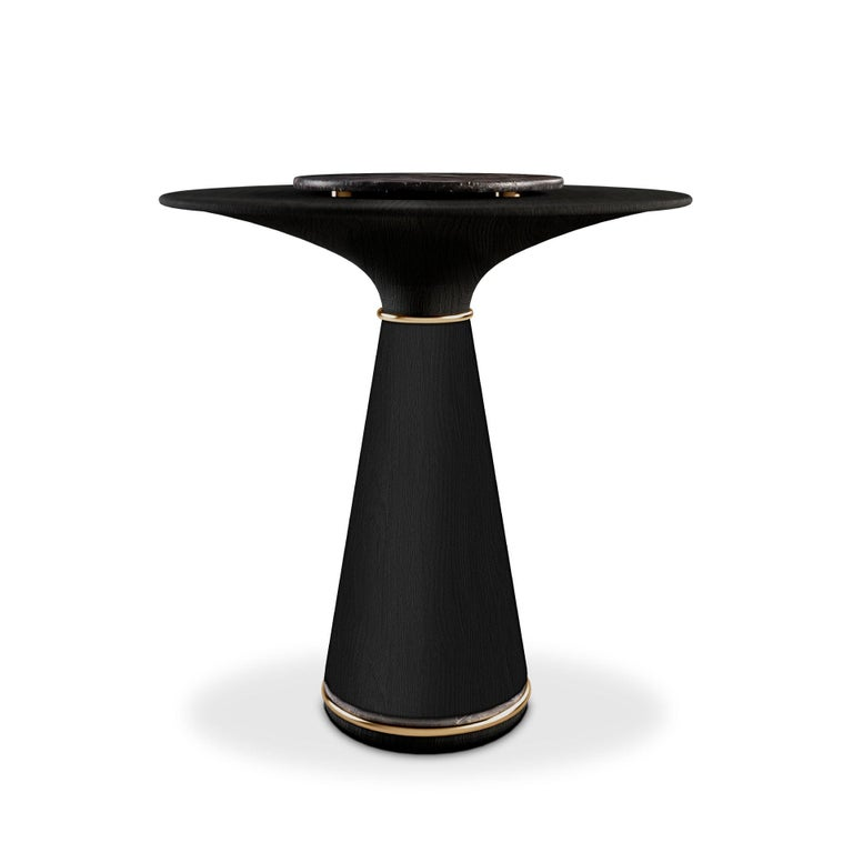 21st Century Manhattan Bar Table Black Stained Ashwood Brass Grey Kenzo Marble In New Condition For Sale In RIO TINTO, PT