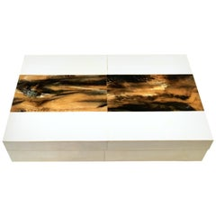 """21st Century Maple and Madagascar Rosewood Inlay Large Lidded """"Letter"""" Box"""
