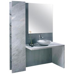 21st Century Marble Bathroom Fitted Wall in White Carrara & Bardiglio Imperiale