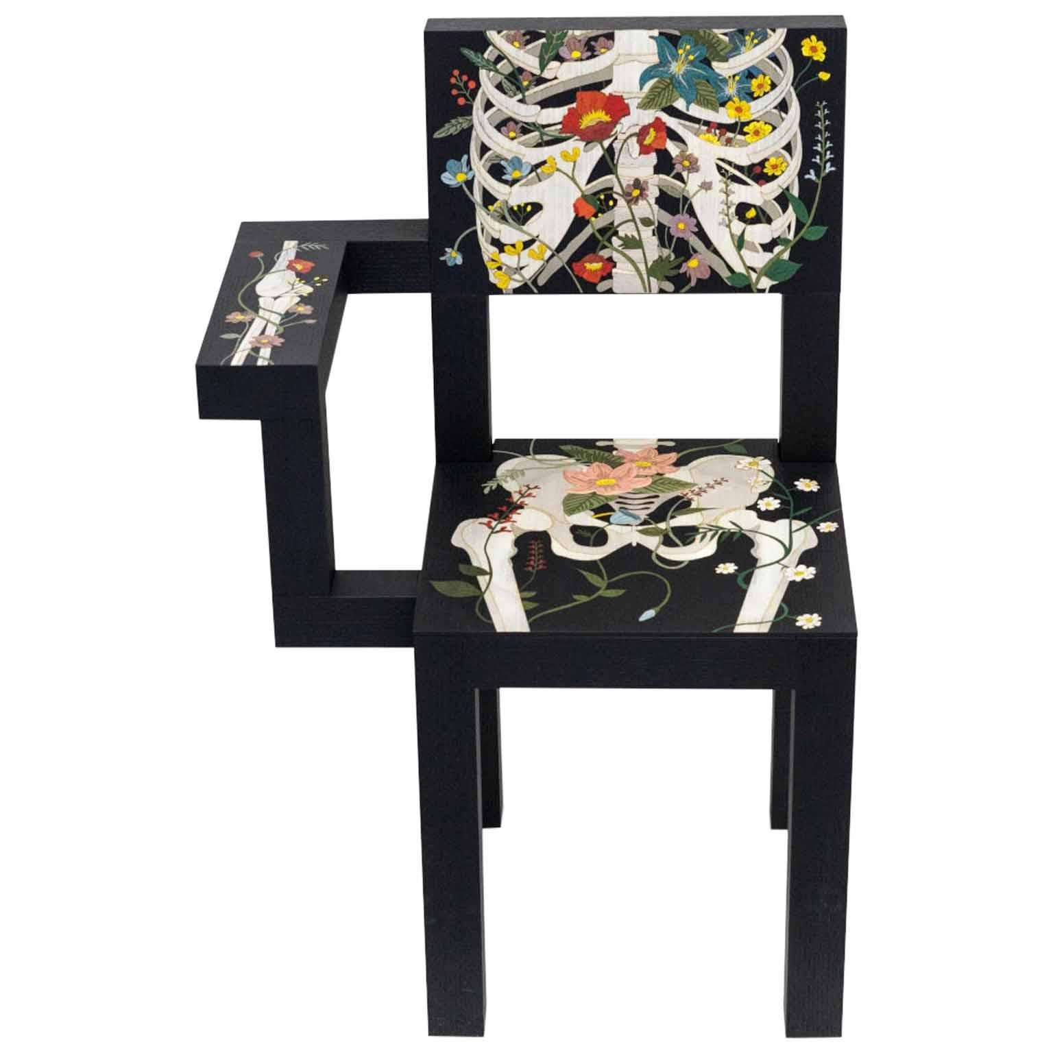21st Century Marcantonio Chair Limited Edition Wood Inlay Black Flower