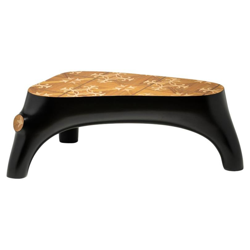 21st Century Marcantonio Coffee Table Wood Inlay Black Lacquered Scapin
