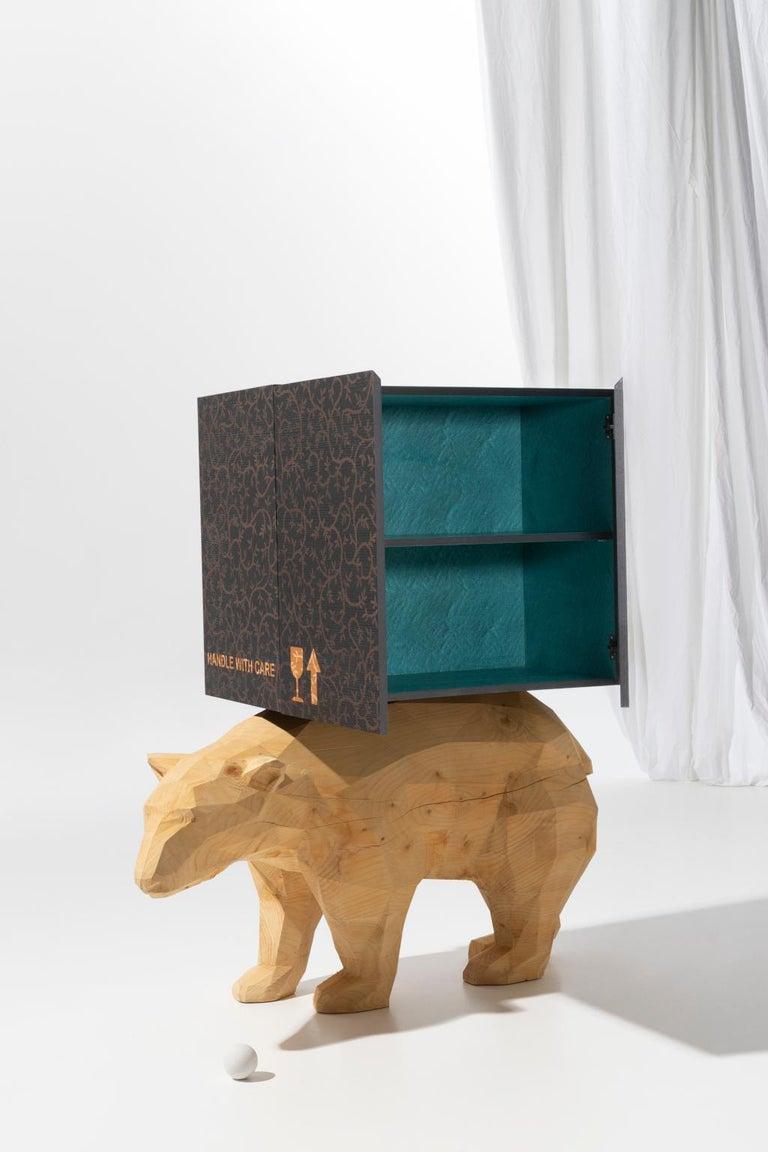 Modern 21st  Century Marcantonio Storage Case Piece Cabinet Bear wood inlay  For Sale