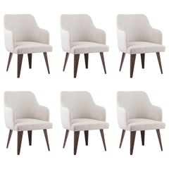 Set of 6 Margot Chairs White Faux Leather Beige Fabric Beech Brown Stain