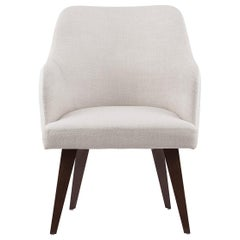 21st Century Margot Chair Brown Stained Beech White Faux Leather Beige Fabric