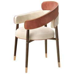 21st Century Marlene Dining Chair Cotton Velvet Walnut Wood Legs