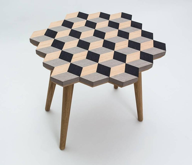 Arts and Crafts 21st Century Marquetry Wood Veneer Cubic Dip Stool For Sale