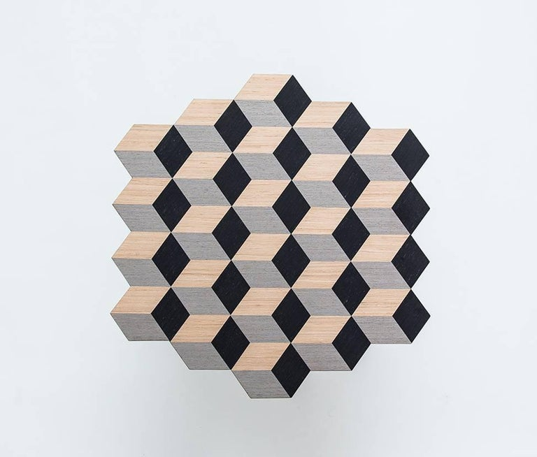 Turkish 21st Century Marquetry Wood Veneer Cubic Dip Stool For Sale