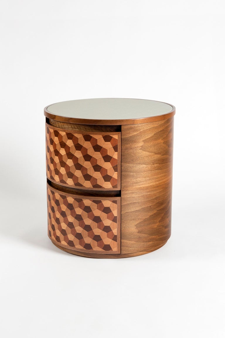 Turkish 21st Century Marquetry Wood Veneer Geometric Nightstand For Sale