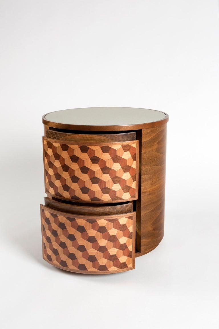 21st Century Marquetry Wood Veneer Geometric Nightstand In New Condition For Sale In Istanbul, TR