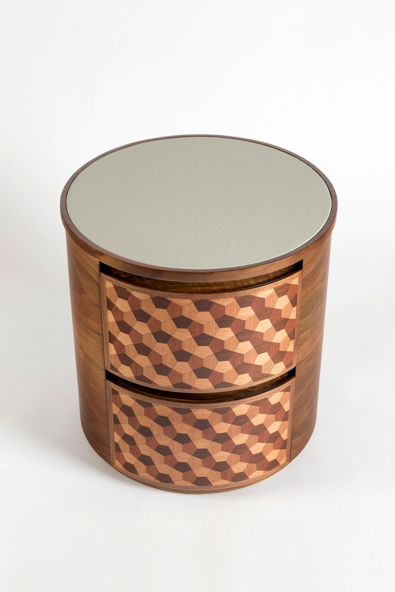 Contemporary 21st Century Marquetry Wood Veneer Geometric Nightstand For Sale