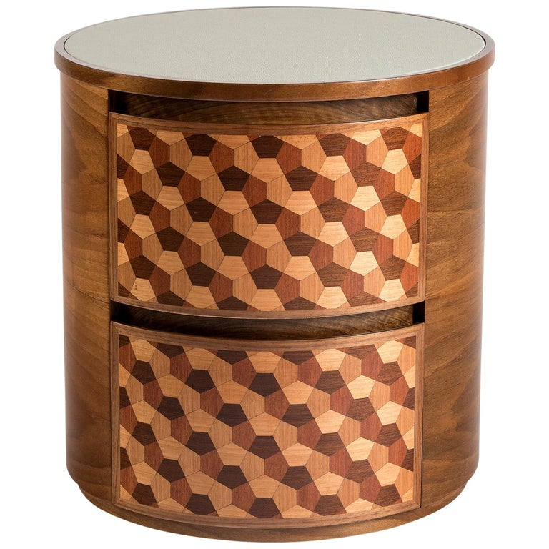 21st Century Marquetry Wood Veneer Geometric Nightstand For Sale
