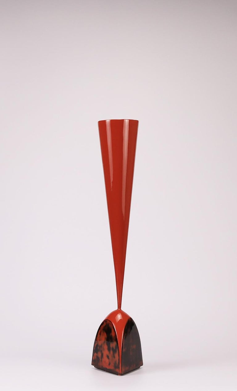 Futurist 21st Century,  Mars Red Lacquered Ceramic Vessel by Golem of Italy For Sale