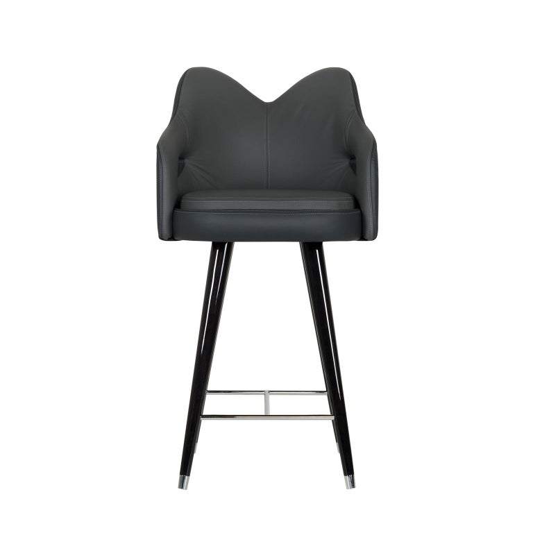 Modern Mary Bar Chair Wood Black Stain Black Italian Leather Polished Stainless Steel For Sale