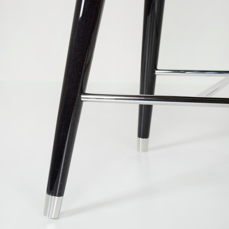 Mary Bar Chair Wood Black Stain Black Italian Leather Polished Stainless Steel In New Condition For Sale In Cartaxo, PT