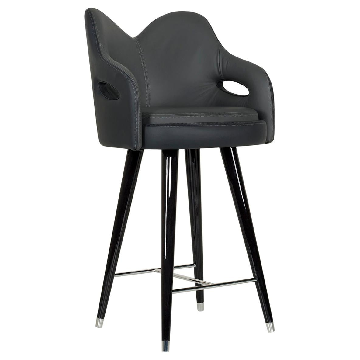 Mary Bar Chair Wood Black Stain Black Italian Leather Polished Stainless Steel