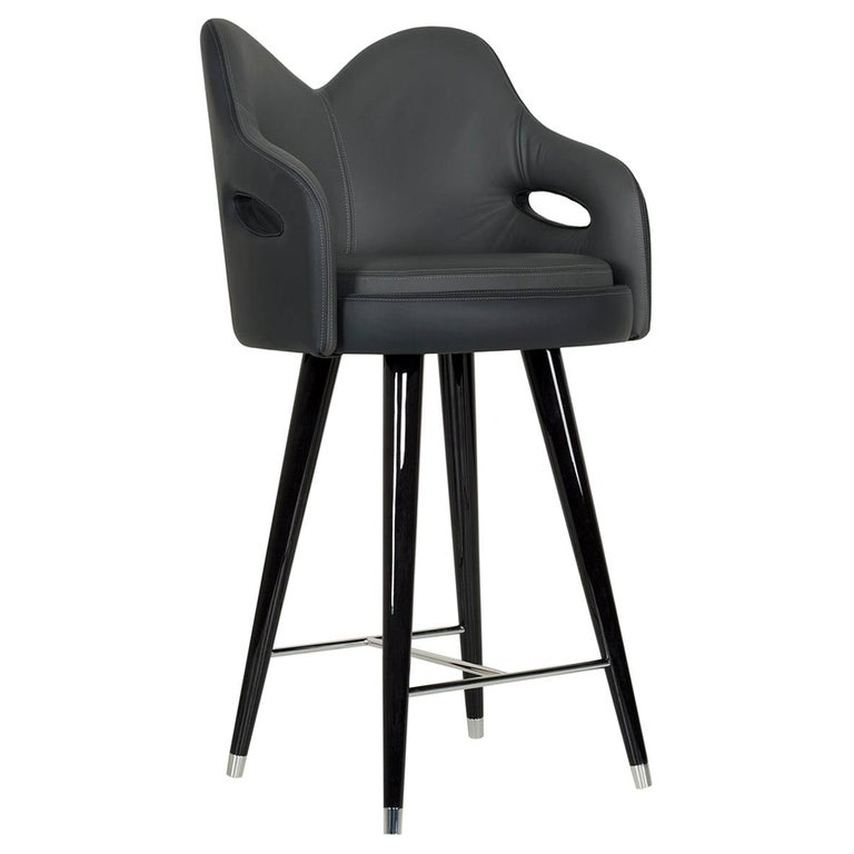 Mary Bar Chair Wood Black Stain Black Italian Leather Polished Stainless Steel For Sale