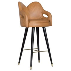21st Century Mary Bar Chair Wood Black Stain Caramel Leather Brushed Brass