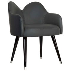 21st Century Mary Chair with Armrests Black Leather Black Beech Stainless Steel