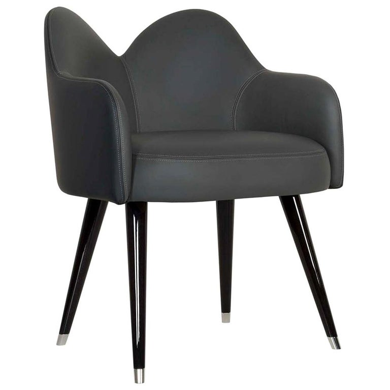 21st Century Mary Chair with Armrests Black Leather Black Beech Stainless Steel For Sale