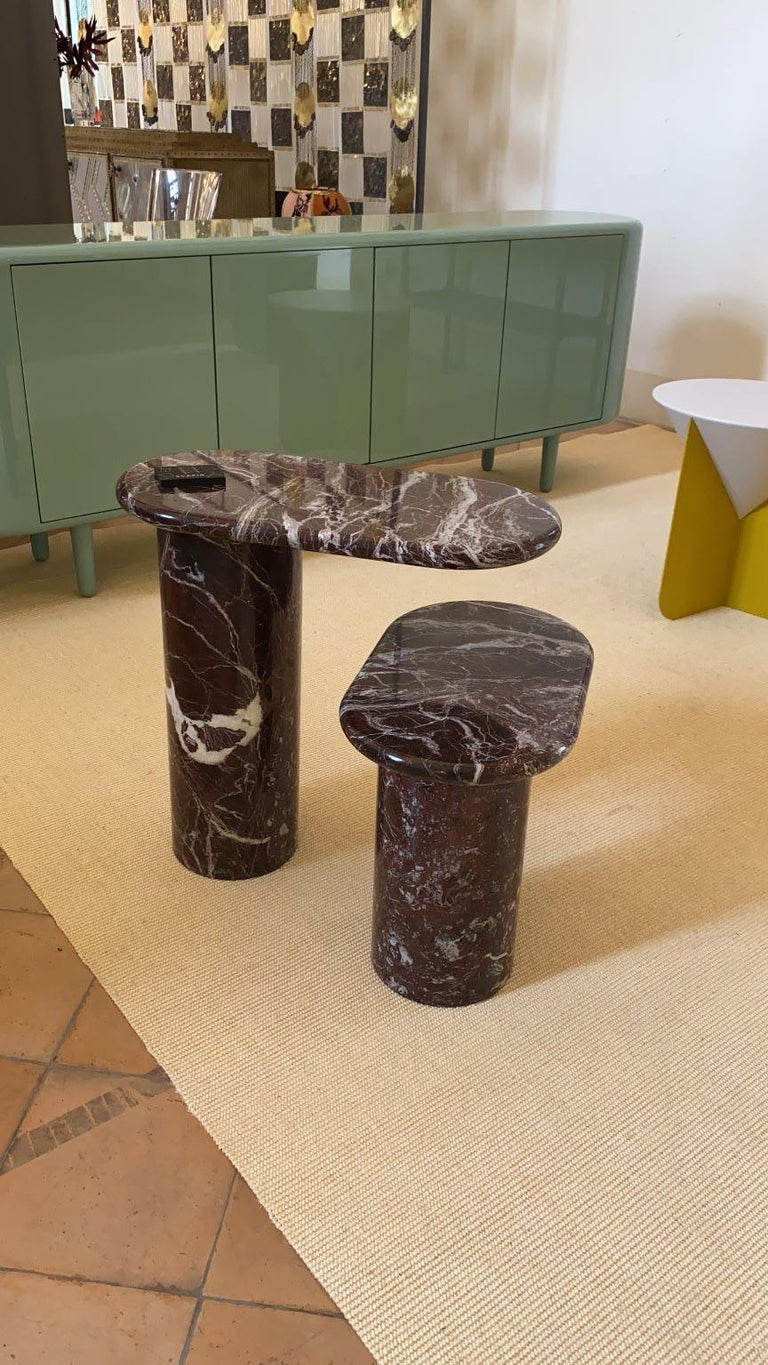 21st Century Matteo Zorzenoni Side Coffee Table Marble Red In New Condition For Sale In Tezze sul Brenta, IT