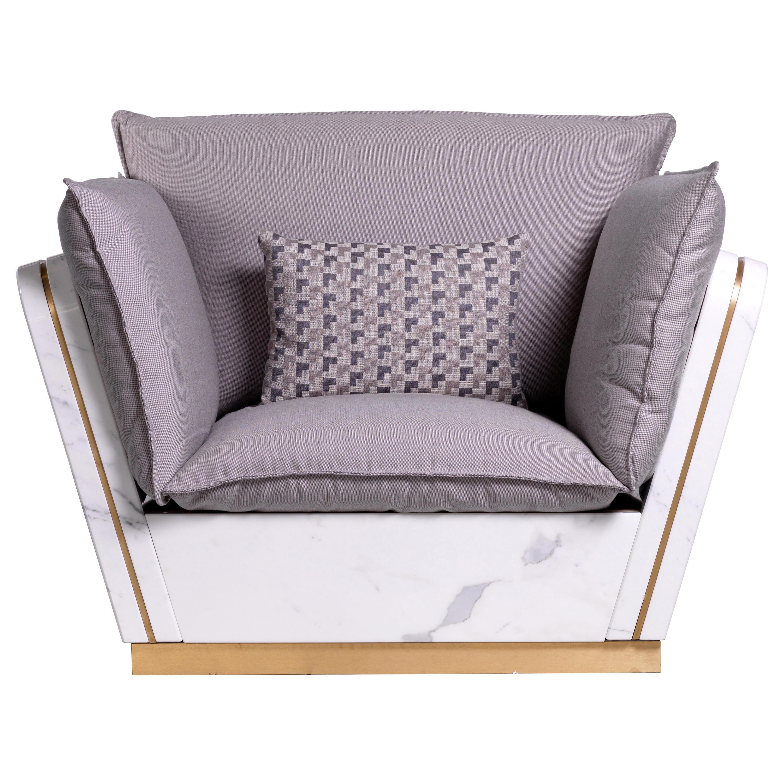 21st Century Mattis White Statuario Marble Teakwood Armchair Customized Cushion