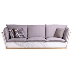 21st Century Mattis White Statuario Marble Teakwood Sofa Customised Cushion
