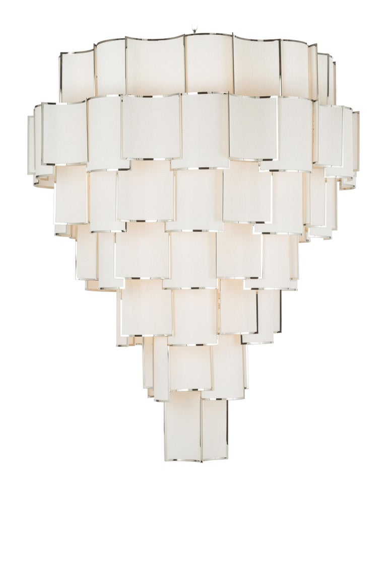 Polished 21st Century Maxi Shade Chandelier by Officina Luce Ivory Fabric and Nickel For Sale
