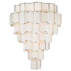 21st Century Maxi Shade Chandelier by Officina Luce Ivory Fabric and Nickel