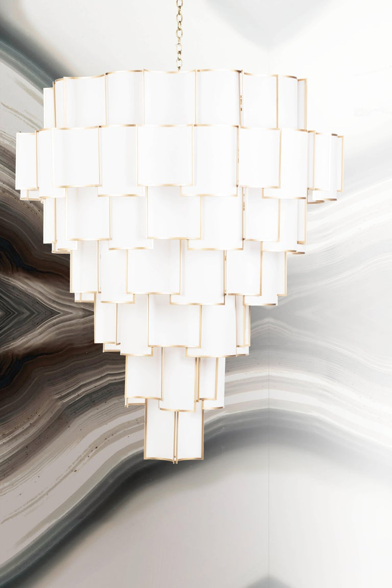 Art Deco 21st Century Maxi Shade Chandelier by Officina Luce Ivory Parchment and Brass For Sale
