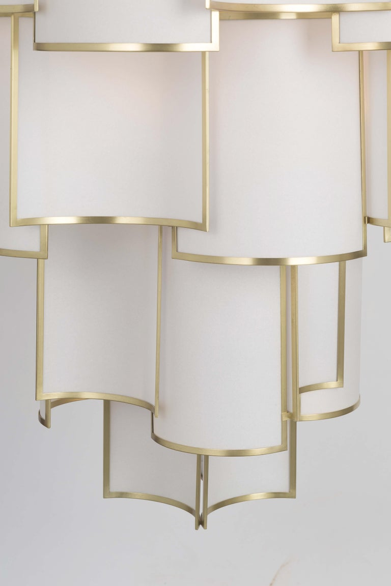 Galvanized 21st Century Maxi Shade Chandelier by Officina Luce Ivory Parchment and Brass For Sale