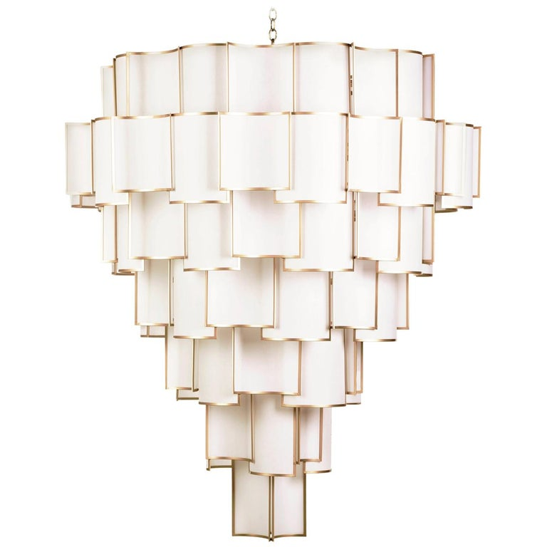 21st Century Maxi Shade Chandelier by Officina Luce Ivory Parchment and Brass For Sale