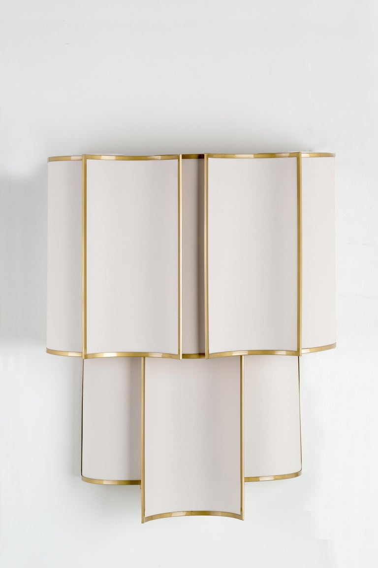 21st Century Maxi Shade Wall Lamp by Officina Luce Gray Linen and Brass Shades In New Condition For Sale In Prato, IT