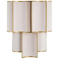 21st Century Maxi Shade Wall Lamp by Officina Luce Gray Linen and Brass Shades