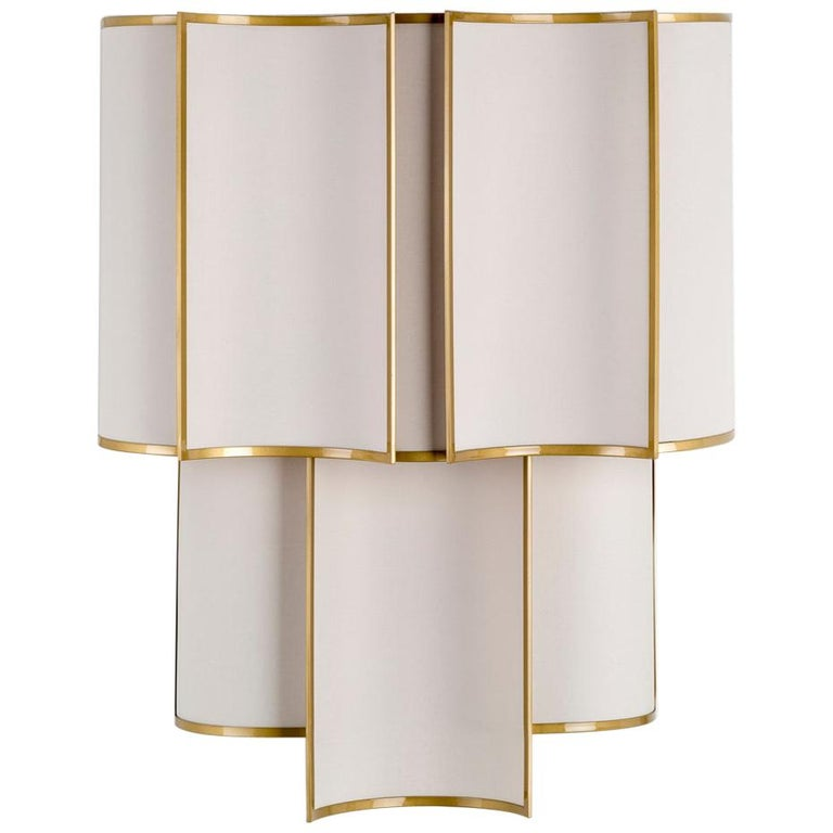 21st Century Maxi Shade Wall Lamp by Officina Luce Gray Linen and Brass Shades For Sale