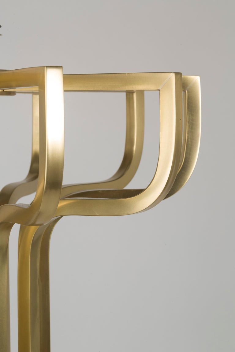 Art Deco 21st Century Maxime Floor Lamp in Brass by Officina Luce Gray Shantung Shade For Sale