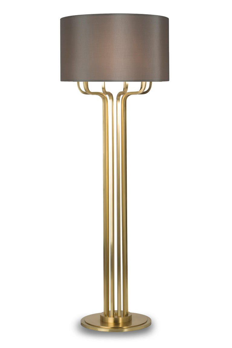 Brushed 21st Century Maxime Floor Lamp in Brass by Officina Luce Gray Shantung Shade For Sale
