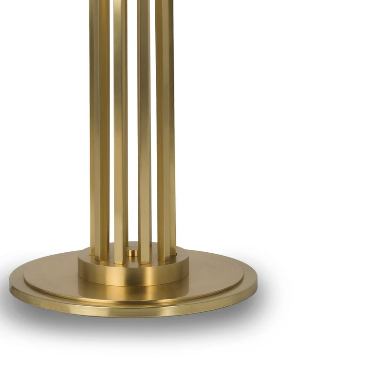 21st Century Maxime Floor Lamp in Brass by Officina Luce Gray Shantung Shade In New Condition For Sale In Prato, IT